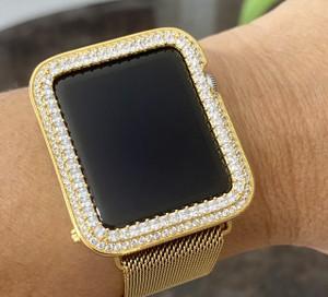 EMJ Bling Apple Watch Yellow Gold Bezel Face Case Princess Zirconia 38/42mm Series 1,2,3