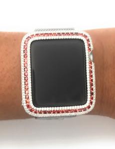 Series 2,3 Apple Watch Garnet Orange/Red Zirconia White Gold Bezel Face Insert 38/ 42 mm