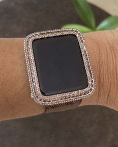 EMJ Series 1,2,3 Bling Apple Watch Lt. Coffee Brown Zirconia Silver Case Bezel 38/42 mm