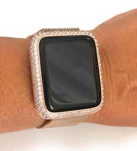 Series 1,2,3 Bling Apple Watch Zirconia Rose Gold Case Face Cover Bezel 38/42mm