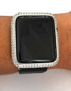 Series 1,2,3 Bling Apple Watch Zirconia Silver Case Face Cover Bezel 38/42mm