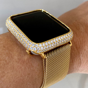 Series 1,2,3 Bling Apple Watch Zirconia Gold Case Face Cover Bezel 38/42mm