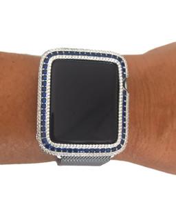 EMJ Series 1,2,3 Bling Apple Watch  Blue Sapphire Zirconia White Gold Silver Case Bezel 38/42mm