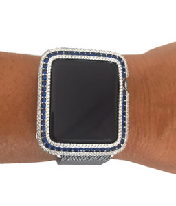 EMJ Series 1,2,3 Bling Apple Watch  Blue Sapphire Zirconia White Gold Silver Case Bezel 38/42mm