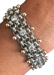 SG Liquid Metal  Gold/Silver Chain Links Bracelet by Sergio Gutierrez BX1Z