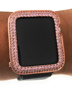 EMJ Bling Apple Watch Pink Princess Zirconia Rose Gold Face Cover Bezel 38/42mm Series 1,2,3