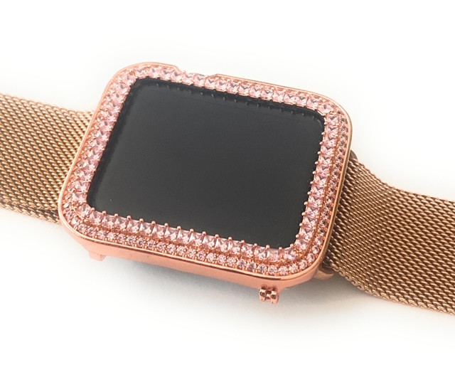 Emj Bling Apple Watch Pink Princess Zirconia Rose Gold Face Cover Bezel 42mm Series 1 2 3