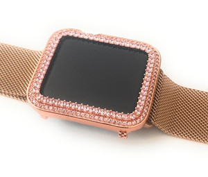EMJ Bling Apple Watch Pink Princess Zirconia Rose Gold Face Cover Bezel 42mm Series 1,2,3