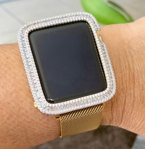 EMJ Series 1,2,3 Bling  Apple Watch Baguette Zirconia Yellow Gold Case Face Cover Bezel 38/42mm