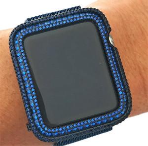EMJ Series 1,2,3 Bling  Apple Watch Blue Zirconia Black Case Face Cover Bezel 38/42mm