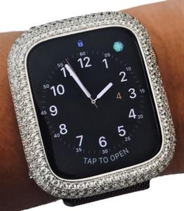 EMJ Bling apple Watch Series 4/5/6 Bezel Case Face Plate Zirconia Silver 40/44 mm