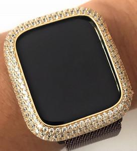 EMJ Bling apple watch Series 4/5/6/SE bezel case face cover Zirconia Yellow Gold 40/44 mm