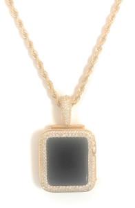 Series 2/3 apple watch gold pendant chain necklace princess zirconia bezel case 38 42 mm