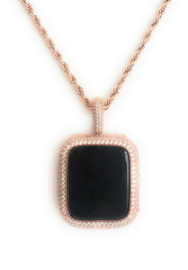 Series 4 apple watch rose gold pendant chain necklace zirconia bezel case 40 44 mm