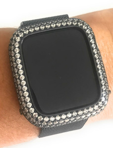 EMJ Bling Apple Watch Series 4 S4 Bezel Case Face Cover Zirconia Black 40/44 mm