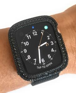 EMJ002 Bling apple watch Series 4 S4 bezel case face cover Zirconia Black 40/44 mm