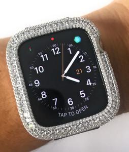 EMJ002 Bling apple watch Series 4/5 bezel case face cover Zirconia Silver 40/44 mm