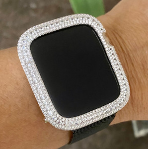 Series 4,5,6,SE Bling Apple Watch Silver Zirconia Bezel Case Face Cover  40/44 mm