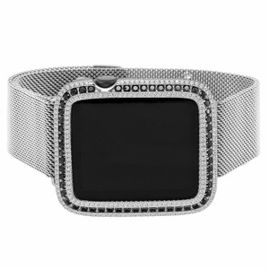 EMJ Series 1 Bling Apple Watch Black Zirconia Silver Case Bezel 38 mm