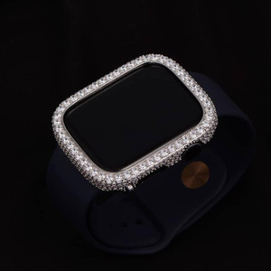EMJ Bling Apple Watch Series 4/5 Bezel Case Face Cover Zirconia Silver 40/44 mm