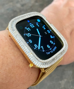 EMJ Series 4/5/6/SE Bling  Apple Watch Baguette Zirconia Gold Case Face Cover Bezel 40/44 mm