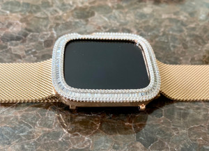 EMJ Bling Apple Watch Series 4/5 Rose Gold Bezel Case Face Cover Baguette Zirconia 40/44 mm