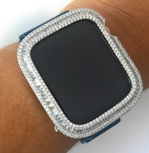 EMJ Series 4,5 Bling  Apple Watch Baguette Zirconia Silver Case Face Cover Bezel 40/44mm