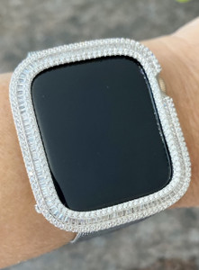 EMJ Series 4,5,6,SE Bling  Apple Watch Baguette Zirconia Silver Case Face Cover Bezel 40/44mm