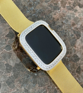 Series 4,5,6,SE Bling Apple Watch Yellow Gold Bezel Case Face Cover Zirconia 40/44 mm