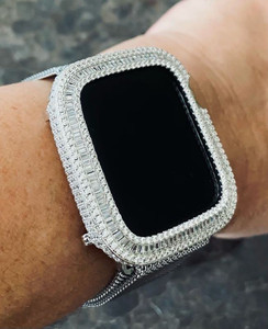 Full Loaded Bling Baguette Apple Watch Bezel Case Cover Silver  series 4/5/6/SE , 40 / 44 mm