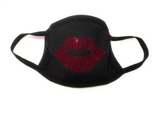 Rhinestone Face Mask Cover Red Lips Cotton Reusable, Washable & Filter FAST SHIP