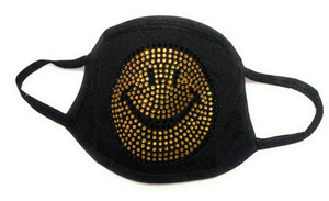 Rhinestone Face Mask Cover Smiley Smile Cotton Reusable, Washable & Filter FAST SHIP