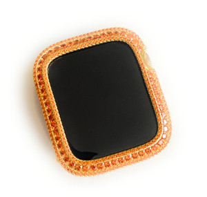 EMJ Bling Apple Watch bezel &/or band Orange Zirconia Yellow Gold Face  Series 4,5,6 40 /44 mm