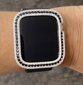 EMJ Bling CZ / Black Zirconia Silver Bezel Case Cover Face For Apple Watch Series 4,5,6,SE 40/44 mm
