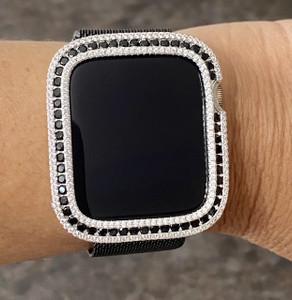 EMJ Bling CZ / Black Zirconia Silver Bezel Case Cover Face For Apple Watch Series 4,5,6,SE 40/44 mm