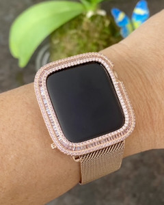 EMJ Bling Pink Zirconia Baguette Bezel Case Face Cover and /or Rose Gold Apple Milanese Mesh Band for Series 4,5,6,SE 40/44 mm Set