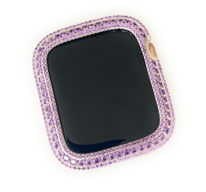 EMJ Bling Apple Watch Amethyst Lillac Bezel Face Case &/or Silver Milanese Mesh Band 40/44 mm