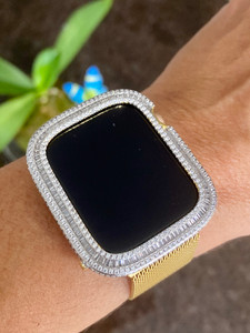 EMJ Full Loaded Bling Baguette Apple Watch Bezel Case Cover Gold Series 4/5/6/SE , 40 / 44 mm