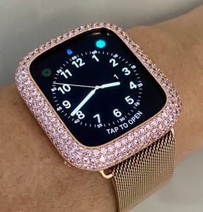 Series 4,5,6, SE EMJ Bling Pave Apple Watch Pink Bezel Face Case &/or Rose Gold Milanese Mesh Band 40/44 mm