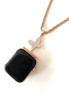 EMJ Bling Apple Watch Rose Gold Butterfly Charm Pendant Adapter & Rope Chain Necklace 38/40/42/44mm
