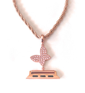 EMJ Bling Apple Watch Rose Gold /Pink Butterfly Charm Pendant Adapter & Rope Chain Necklace 38/40/42/44mm