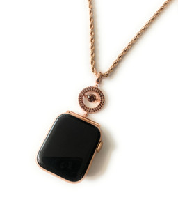 EMJ Apple Watch Big Round Jump Brown Zirconia Rose Gold Charm Pendant Chain Necklace All sizes