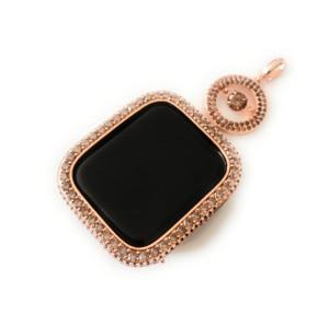 EMJ Apple Watch Big Round Jump Brown Zirconia Rose Gold Charm Pendant Chain Necklace 40/44 mm