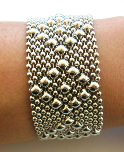 Liquid Metal Medium Diamonds Mesh Cuff Bracelet by Sergio Gutierrez B9
