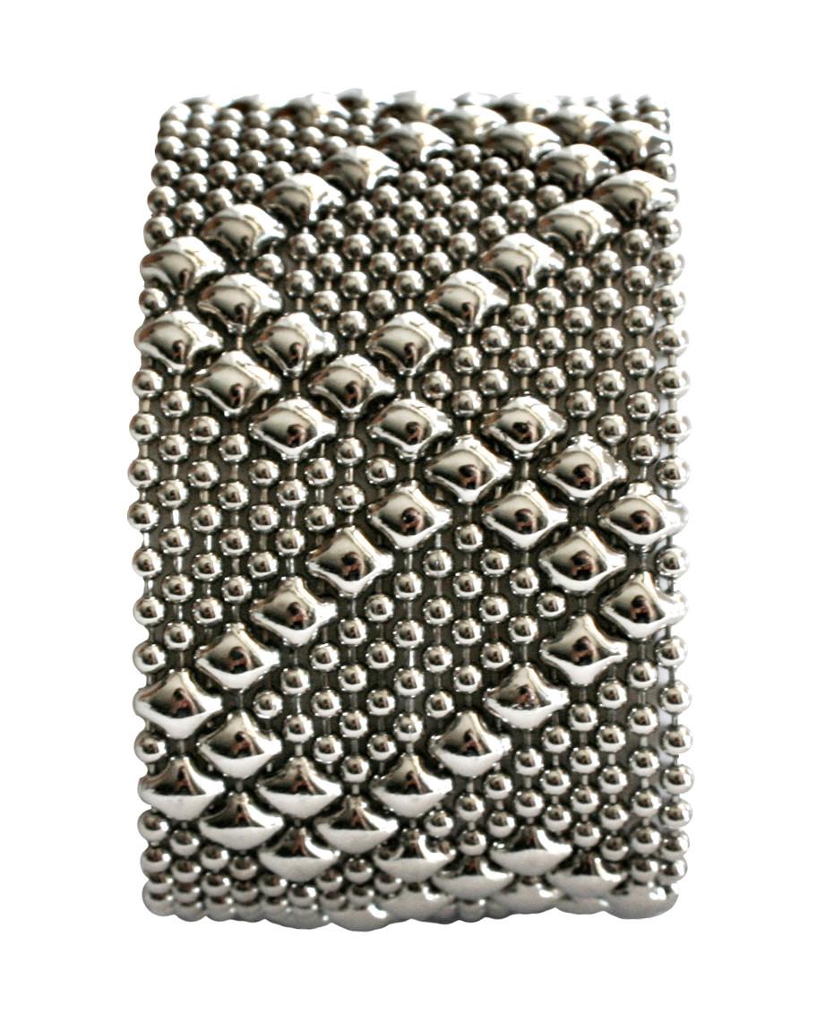 fd8cb61593e Loading zoom. Liquid Metal Silver Mesh Cuff Bracelet by Sergio Gutierrez  B46-1