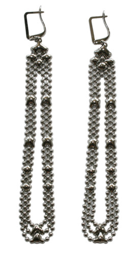 Liquid Metal Silver Long Mesh Earrings by Sergio Gutierrez E43