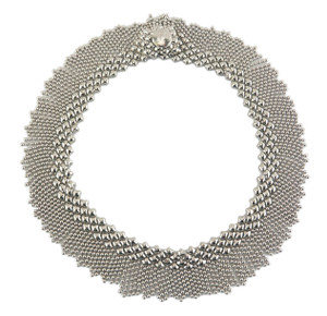 Liquid Metal Dosado Silver Mesh Necklace by Sergio Gutierrez N8