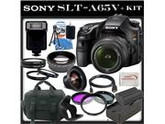Sony (alpha) SLT-A65 (A65v) - Digital Camera - SLR - 24.3 Mpix - Sony DT 18-55mm lens - SSE Package: 0.45x Wide Angle Lens, 2x Telephoto, 3 Piece Filter Kit (UV