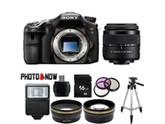 SONY alpha A77 Black 24.3 MP DSLR Camera SLTA77V with DT 18-55mm f/3.5-5.6 SAM II Lens Essential Bundle