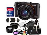 Sony Cyber-shot DSC-RX1 Full Frame Compact Digital Camera Kit. Includes: 0.45X Wide Angle Lens, 2X Telephoto Lens, 3 Piece Filter Kit (UV-CPL-FLD), 64GB Memory